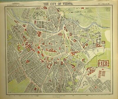 1882 Letts Map City Of Vienna Plan Arsenal Railway Station School