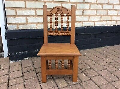 Vintage Turned Wood Gothic Style Small Wooden Kids Chair