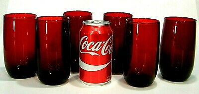 """6 Pc Lot ViNTAGE RUBY RED GLASS 5"""" WATER HiGHBALL GLASSES 12 oz TUMBLER"""
