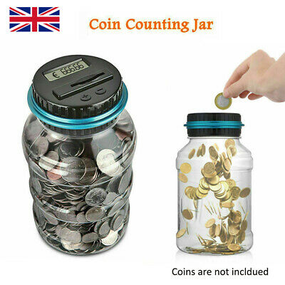 1pc Electronic LCD Coin Money Counting Jar Box Saving Digital Piggy Bank Gift WL