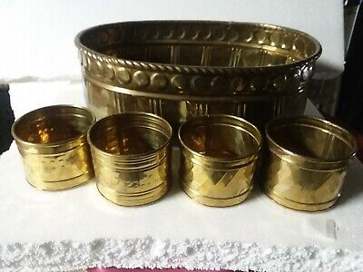 """Vintage lot 5 Large Small Brass Planters 6 X 10 X 15 & 3 X 4"""""""