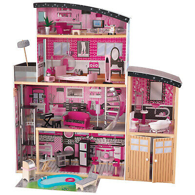 NEW! KidKraft Glamorous Sparkle Mansion Curved Roof Dollhouse and Furniture