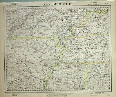 1883 Letts Map Eastern United States Kansas Mississippi Kentucky Missouri