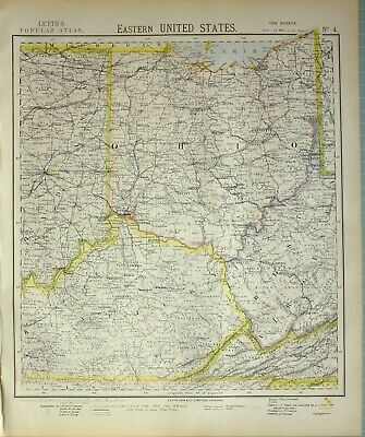 1883 Letts Map Eastern United States Ohio West Virginia Kentucky Indiana