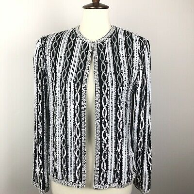 Vintage Adrianna Papell Evening Sequin Jacket Silk Embellished Size Petite Small