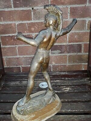 Antique Statue Roman Greek Gladiator Spartan Warrior Copper Bronze large
