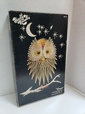 VTG 1970s MID Century Modern Retro Groovy Orange Owl Nail Wire String Wall Art