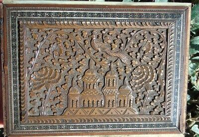 ASIAN ORIENTAL CARVED  Jewellery BOX CASE RELIEF ART CHINNESE