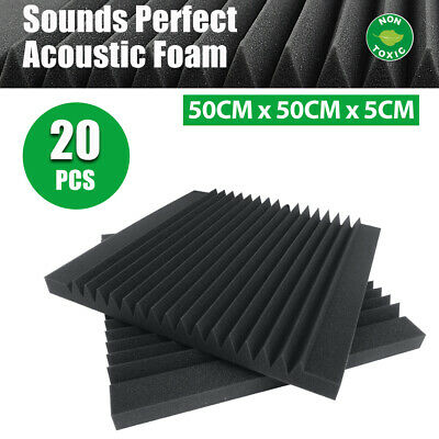 50x50cm Studio Acoustic Foam Sound Absorbtion Proofing Panel Wedge Teeth 20PCS