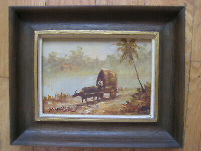 Mystery Antique Vintage Oil Painting Impressionist Landscape Ox Cart Signed Old