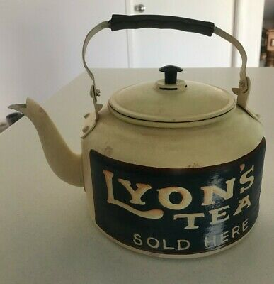 Vintage - Lyon's Tea - Aluminium Teapot Shopfront Advertisement - Hand Painted