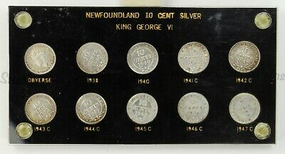 Full Set Of 10 Newfoundland Ten 10 Cent 1938-1947 Includes 1946 And Obverse