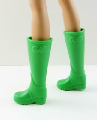 Barbie Fashionista Flat Feet Shoes .. Bright Green Wellies Rain or Riding Boots