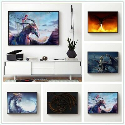 Dragon Fire Painting Printed Canvas Wall Art Painting Poster Home Decor Unframed