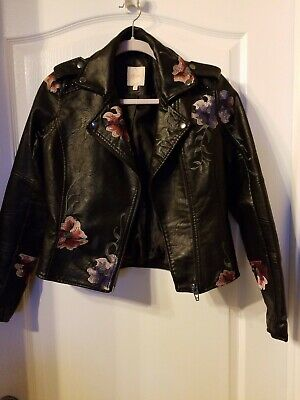 WOMEN/Girls CANDIE'S Faux leather Flower Embroidery Short Black lined Jacket