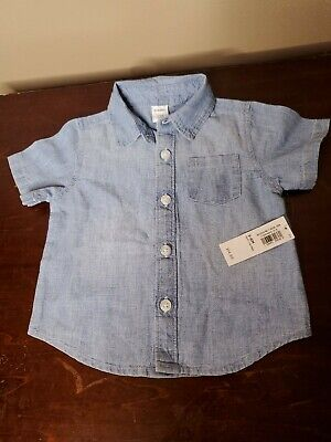 Old Navy Baby Boy Blue Jean Button Shirt Size 3-6 Months
