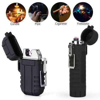 2 IN 1 Electric USB Lighter Rechargeable Plasma Windproof Flameless Cigarette