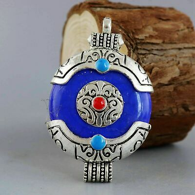 Collect Handwork Old Tibet Silver Carved Tibetan Culture Auspicious Luck Pendant