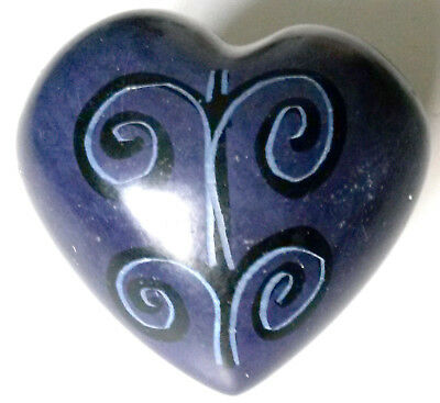 Heart - Soapstone Hand Carved & Hand Painted - Purple with Fountain Designs