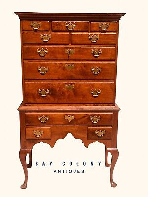 18Th C Antique Queen Anne Period Philadelphia Walnut Highboy Dresser / Chest