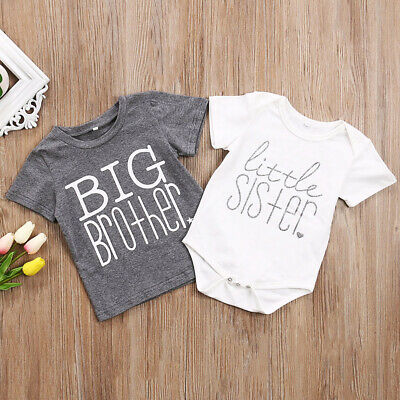 USA Big Brother Little Sister Kid Boys Baby Girls Cotton Tops T-shirt/Romper