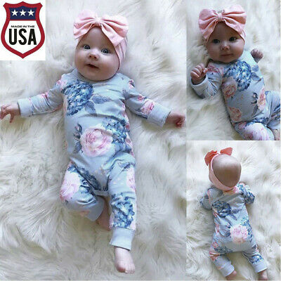 Cute Kids Baby Girl Cotton Floral Romper Jumpsuit Bow Hair Band Clothes Sets