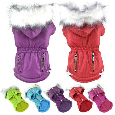 Waterproof Padded Winter Hood Coat Pets Dog Cat Cold Weather Outfit Wear Clothes