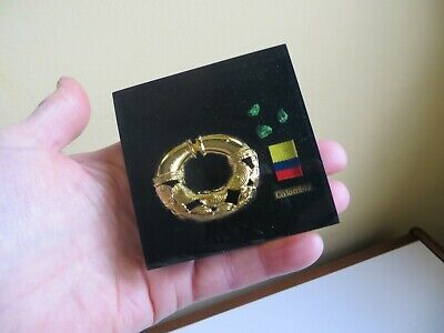 Vintage Retro Replica Colombia Aboriginal Culture Faux Gold Artifact Paperweight