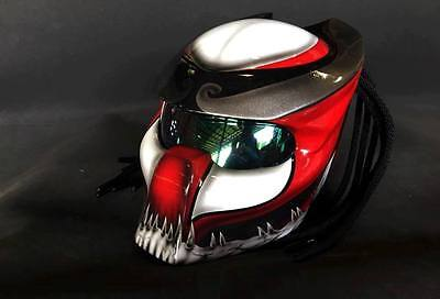 JK87 Predator art airbrush on dot helmet motorcycle handmade (Real, size S-XXL)