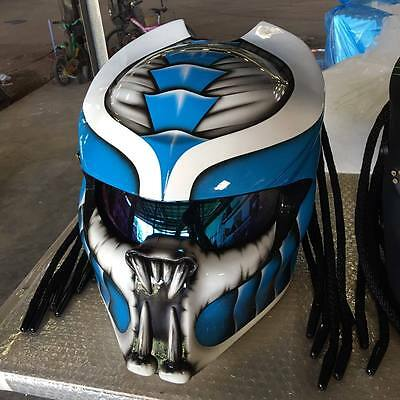 JK89 Predator art airbrush on dot helmet motorcycle handmade (Real, size S-XXL)