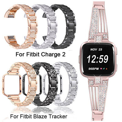 For Fitbit Charge 2 Blaze Versa Diamond Watch Strap Stainless Steel Wristband UK