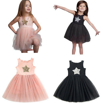 New Toddler Kids Baby Girl Sleeveless Star Sequins Princess Lace Dress Clothes