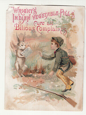 Wright's Indian Vegetable Pills Boy Hunter Rabbit  Vict Card c1880s
