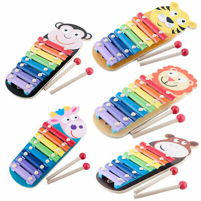 Kids Wooden Animal Xylophone 8 Key Tone Musical Instrument Education Percussion