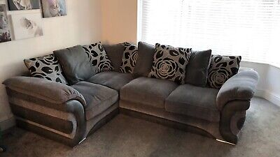DFS FABRIC CORNER Sofa And Spinning Cuddle Chair Grey From a No Pet Home.
