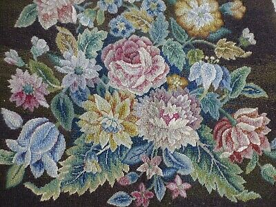 Antq Victorian Edwardian needlepoint chair seat cover English Country House (3)