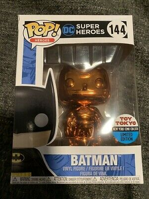 Funko POP 2018 NYCC Orange Chrome Batman 144 Toy Tokyo Sticker W/ Pop Protector