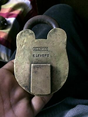 Vintage Original Old Allwyn Handcrafted 6 Levers 976 Grams Solid Brass Padlock