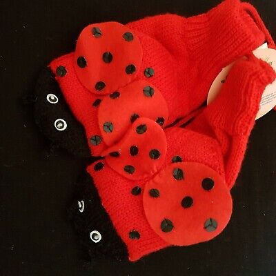 LOVELY Ladybird 3-6yrs Kidorable Mittens Set Childrens Girls Kids Red 2