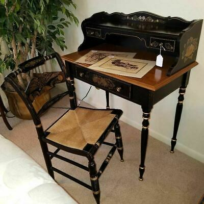 Vintage Ethan Allen Hitchcock Ebony Ladies Writing Desk & Chair w/ Rush Seat