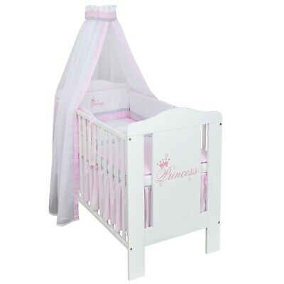 Babybett Kinderbett Weiß 120x60 Princess Bettset Stickerei komplett