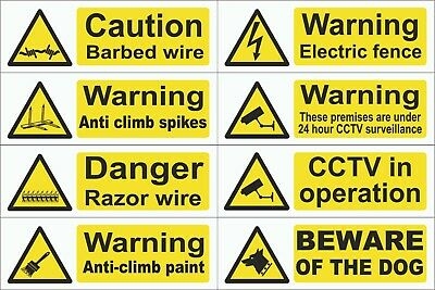 CCTV Dog Barbed Razor Wire Anti-Climb Paint Spikes Fence 300mmx100mm Signs
