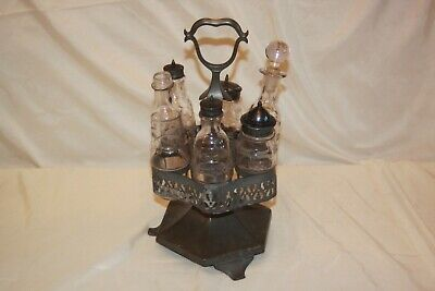 Roswell Gleason Caster Set Cruet Condiment Set Antique #4800 Silver Plate
