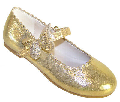 Girls Kids Childrens Gold Shimmer Sparkly Ballerina Flat Party Shoes Wedding