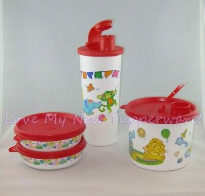 Tupperware Baby Feeding Set Circus Design Tumbler Canister Wonder Bowls New
