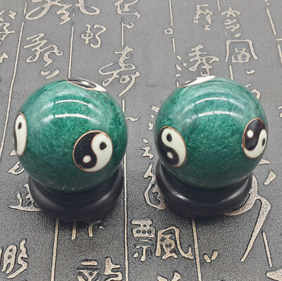 2x Baoding Balls Health Exercise Stress Relaxation Therapy Chinese Yin Yang 50mm