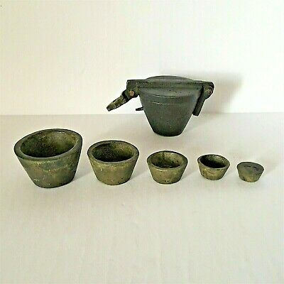Antique Solid Brass Nested Apothecary Cups