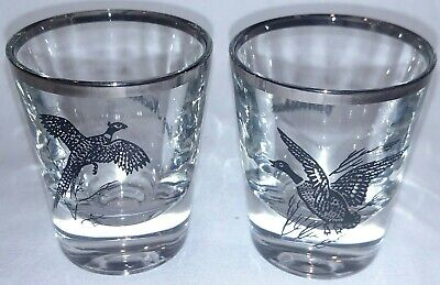 Ring Necked Pheasant & Canvasback Duck silver rimmed shot glasses