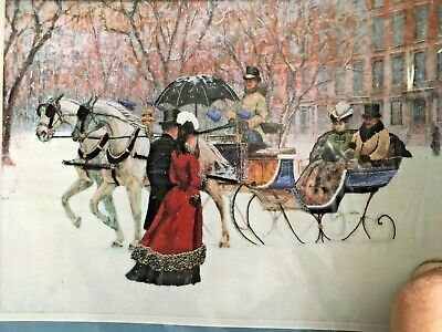 """WINTER IMPRESSIONS Crewel KIT by Sunset 16"""" x 12""""  Horse sleigh Romance"""