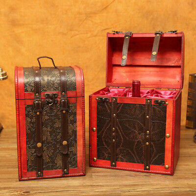 1Pc Red Wine Box Portable Vintage Durable Wooden Storage Box for Gifts